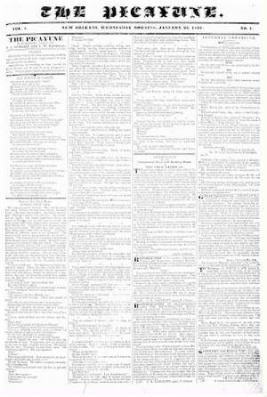 TodayInNewOrleansHistory/1837January25ThePicayuneFirstEditionPage1.jpg